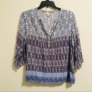 Claiborne Paisley 3/4 sleeve Shirt 2X